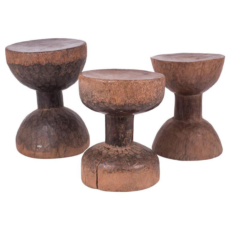 Three Very Old Sculptural Ethiopian Stools 1