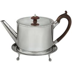 Hester Bateman Silver Teapot and Waiter