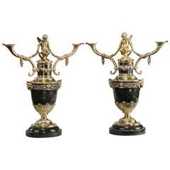 Superb Pair of Victorian Silver Gilt Candelabra