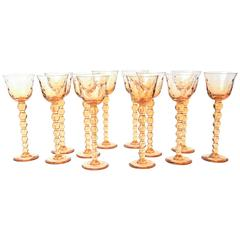 Set 12 Saint Louis Bubble Extra Tall Wine Glasses, Amber
