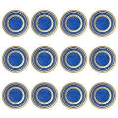 12 Crushed Lapis Gilt Encrusted Antique Presentation or Service Plates