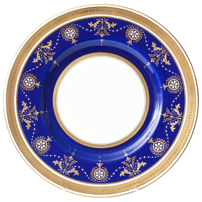 12 Antique Minton England Elaborate Cobalt Jewel & Gilt Encrusted Dinner Plates