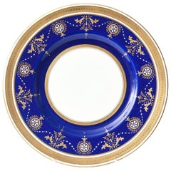 12 Antique Minton England Elaborate Cobalt Jewel & Gilt Encrusted Dinner Plates