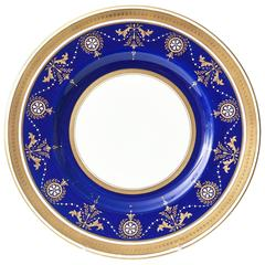 12 Antique Minton England Elaborate Cobalt Jewel and Gilt Encrusted Dinner Plate