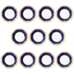 Antique Cobalt and Gilt Encrusted Dinner Plates by Coalport, Set of 11 Custom
