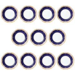 Antique Cobalt and Gilt Encrusted Dinner Plates by Coalport, Set of 11 Custom