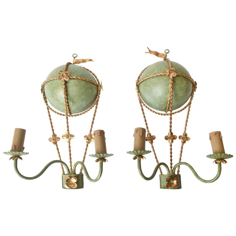 Faux Crystal Wall Sconces : Pair of Vintage Balloon Light Sconces, Faux Marble Painted, Gilt Metal Rope at 1stdibs