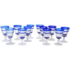 12 Cobalt Blue and Clear Cut Wine Glasses, Antique