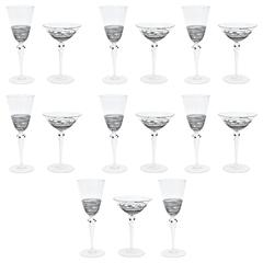 15 Pieces Vintage Barware Eight Martinis and Seven Goblets Blown Black Threading