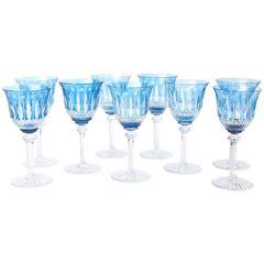 Set of Nine Saint Louis Cut Crystal Goblets, Sky Blue with Original Stickers