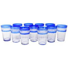 11 Cobalt Blue Cut Glass Tumblers Antique