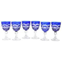 Six Deco Era Cobalt Blue, Heavy and Impressive Val Saint Lambert Crystal Goblets