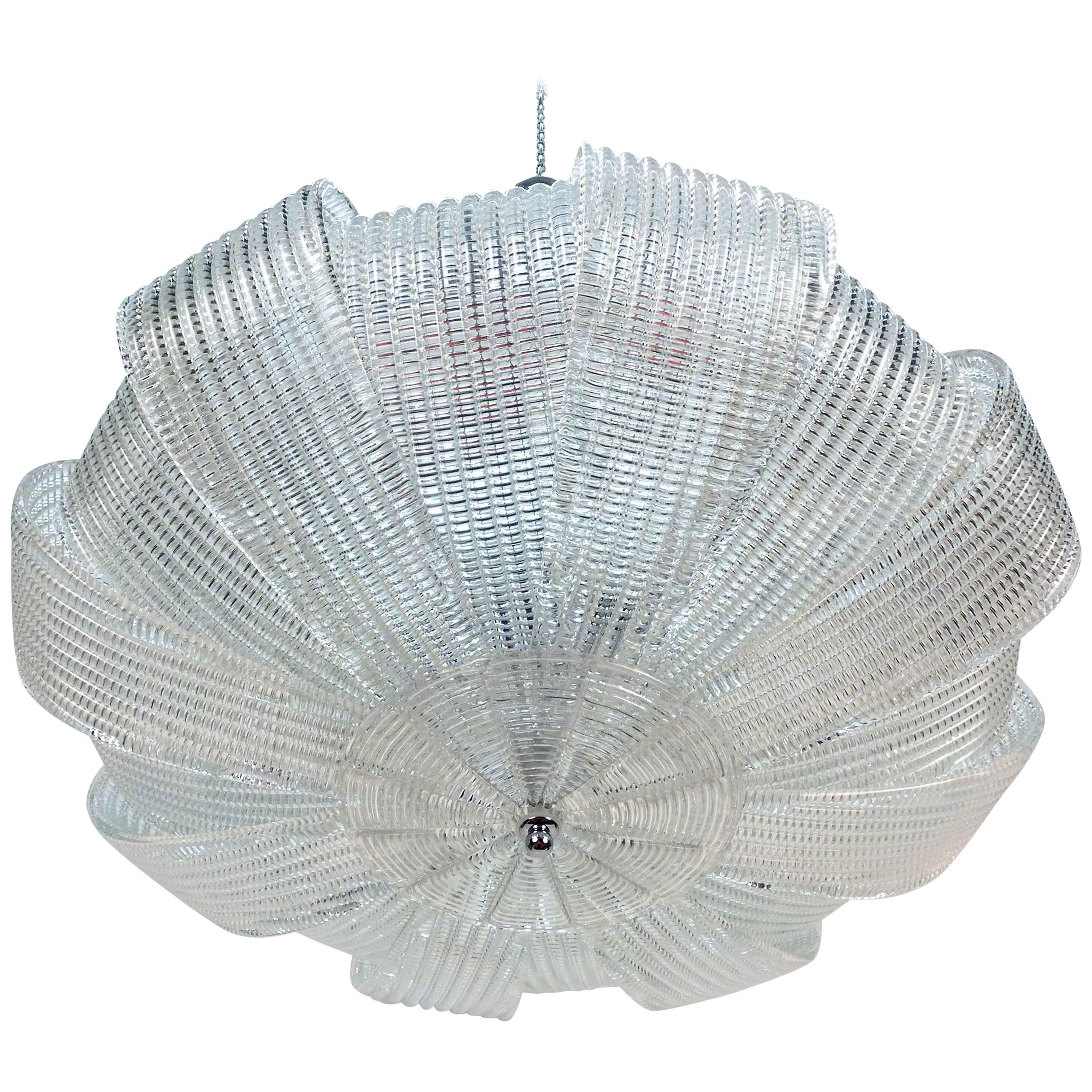 Large Murano Textured Glass Chandelier