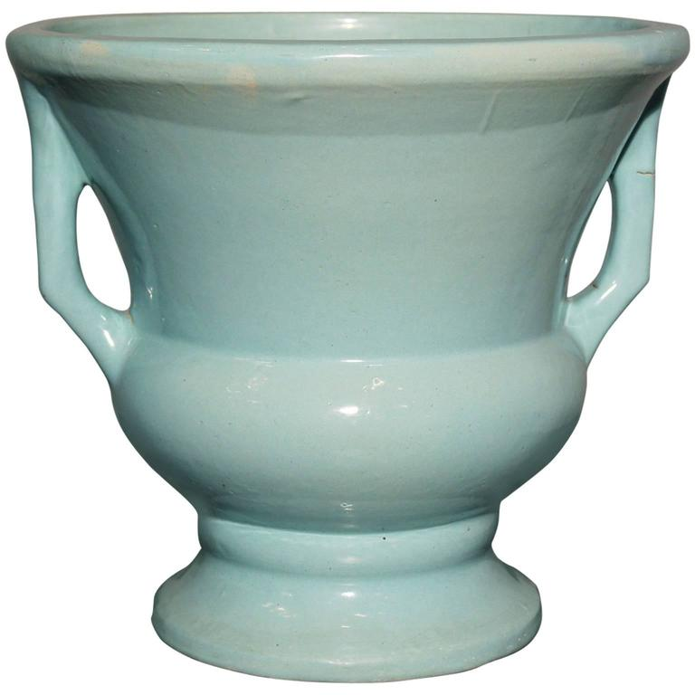 Sea Green Double Handled Urn Style Floor Vase Or Pier