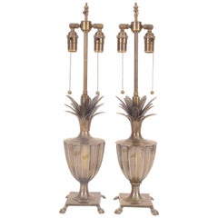 Patinated Pineapple Fluted Brass Table Lamps