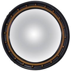 Regency Style Black Convex Mirror circa 1900