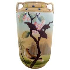 Antique Japanese Porcelain Hand-Painted Bird Motif Vase