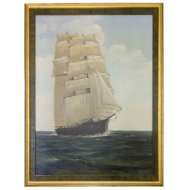Sailing Clipper Oil on Canvas Painting Signed Ronald Davies For Sale