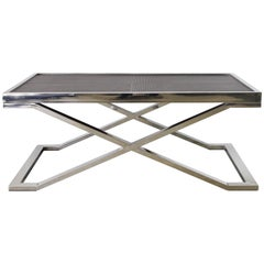 Dark Brown Leather and Stainless Steel Coffee Table by Fabio Ltd