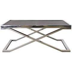 Dark Brown Leather and Stainless Steel Coffee Table