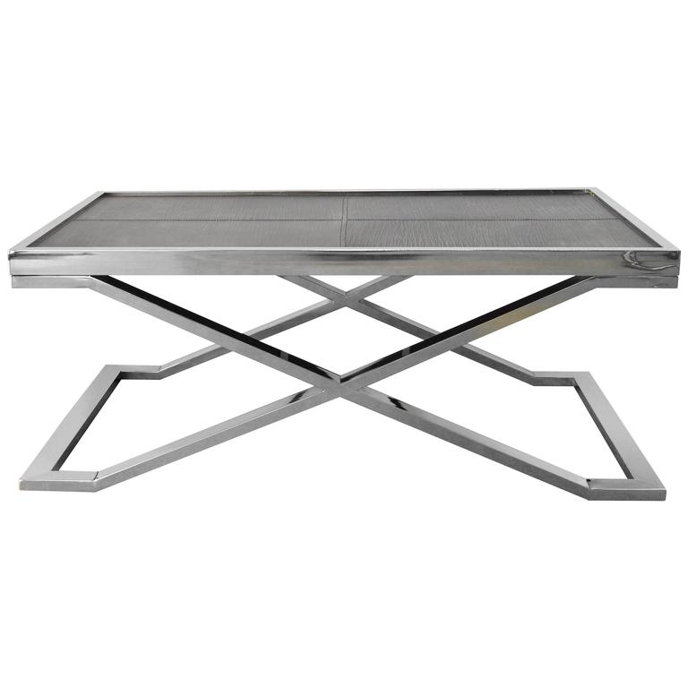 Black Leather And Stainless Steel Coffee Table By Fabio Bergomi For Sale At 1stdibs