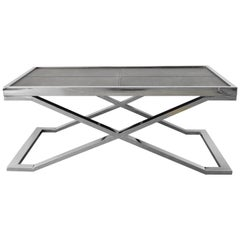 Black Leather and Stainless Steel Coffee Table by Fabio Ltd