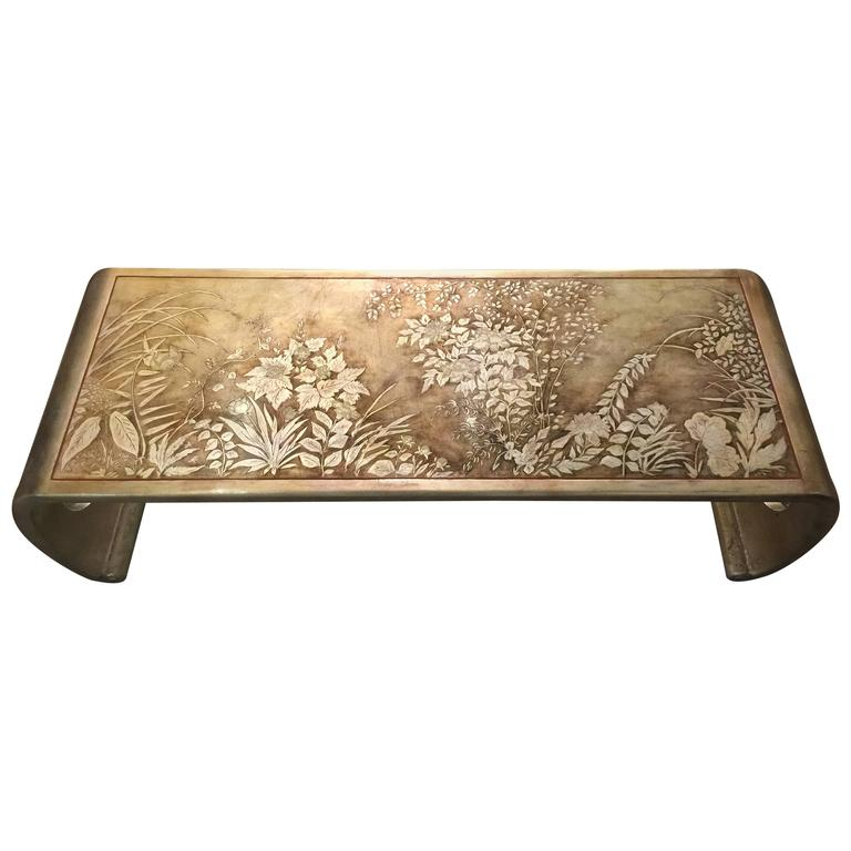 Waterfall Coffee Table With Silver Leaf Design At 1stdibs
