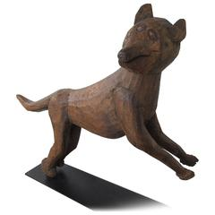 Carved Wood Fox Pouncing