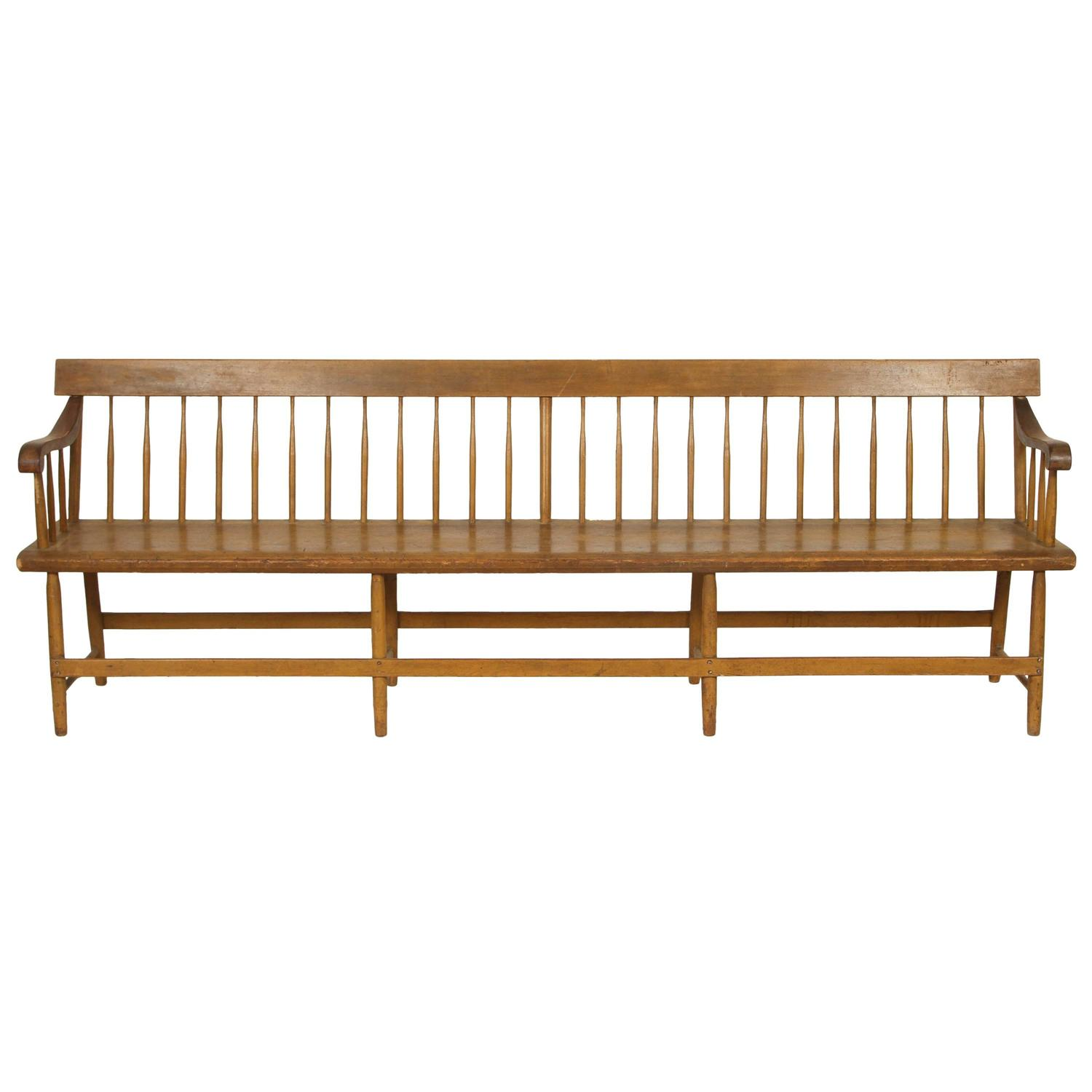 Long Spindle Back Deacon Bench At 1stdibs