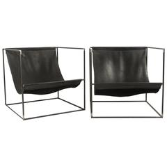 Pair of Leather Slinged Iron Cubed Chairs