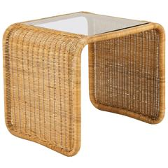 Vintage Rattan and Glass Waterfall Side Table