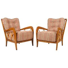 Pair of Gio Ponti Style Spindle Chairs
