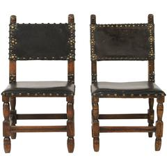 Spanish Leather Embellished Side Chairs