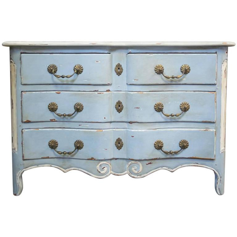French Louis Xiv Style Grey Blue And White Chest Of Drawers For