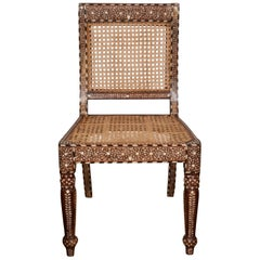 Armless Bone Inlaid Chair From India, late 20th Century