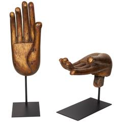 Gilt and Mother-of-Pearl Buddha Hand Sculptures, Late 20th Century
