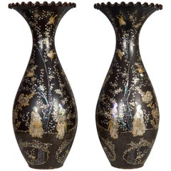Unusual Pair of Mother of Pearl Inlaid Black Porcelain Japanese Vases
