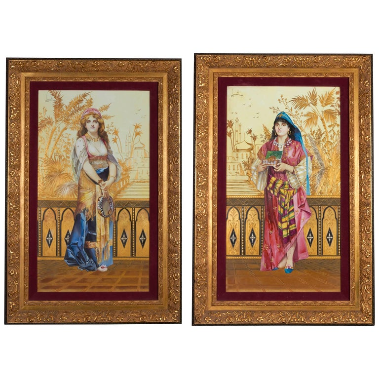 Monumental Pair of Porcelain Plaques of Orientalist or Turkish Women in Castle