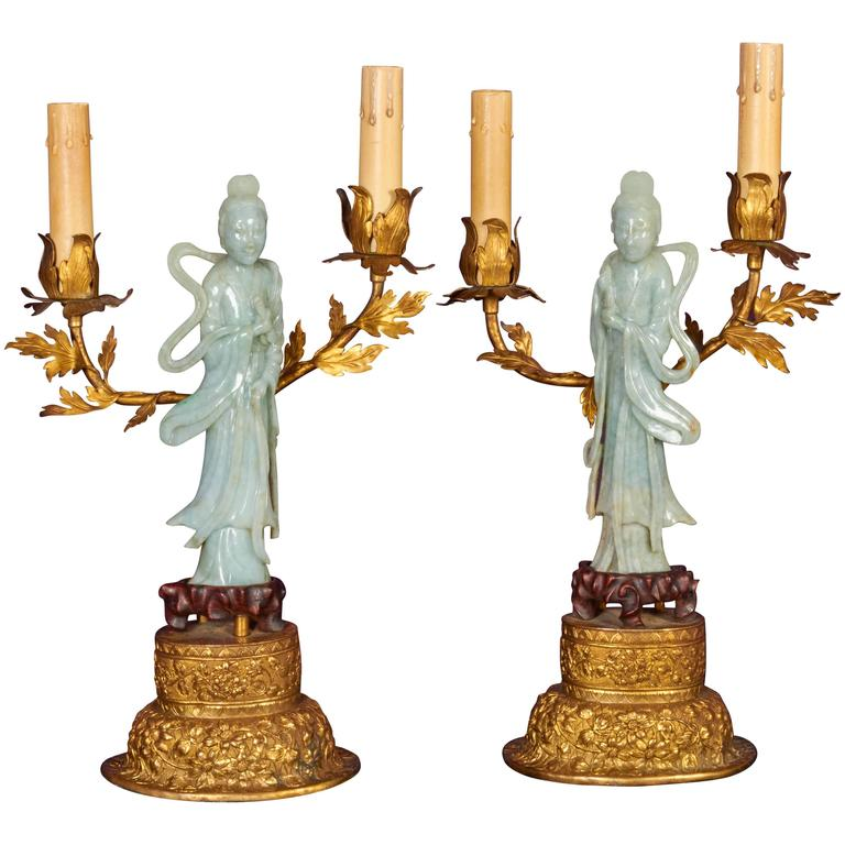 Pair Of Chinese Jade Quanyin Figures Mounted As Candelabra