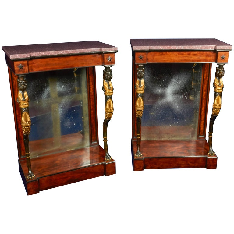 Pair of Regency Mahogany or Bronze Console Tables in the Manner of George Smith For Sale
