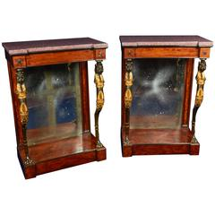 Pair of Regency Mahogany or Bronze Console Tables in the Manner of George Smith