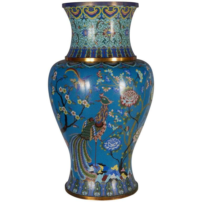 Massive Chinese Cloisonn Vase With Phoenix Magnolia Lotus And