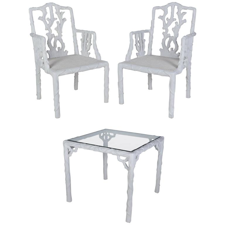 French Glass Top Table and Two Chair Garden Set 1