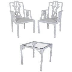 French Glass Top Table and Two Chair Garden Set