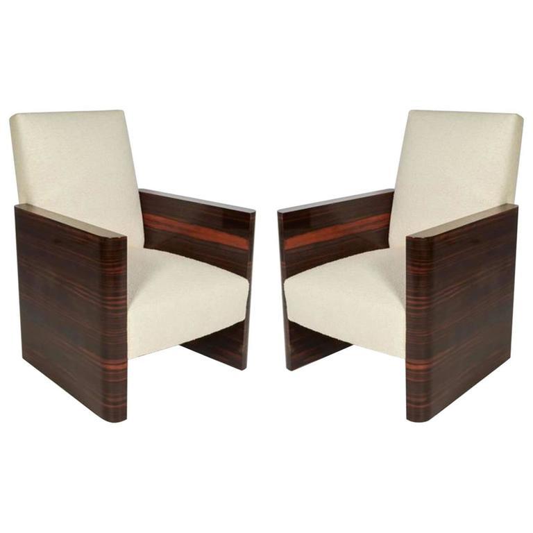 Pair of French Art Deco Macassar Wood Armchairs 1