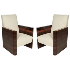 Pair of French Art Deco Macassar Wood Armchairs