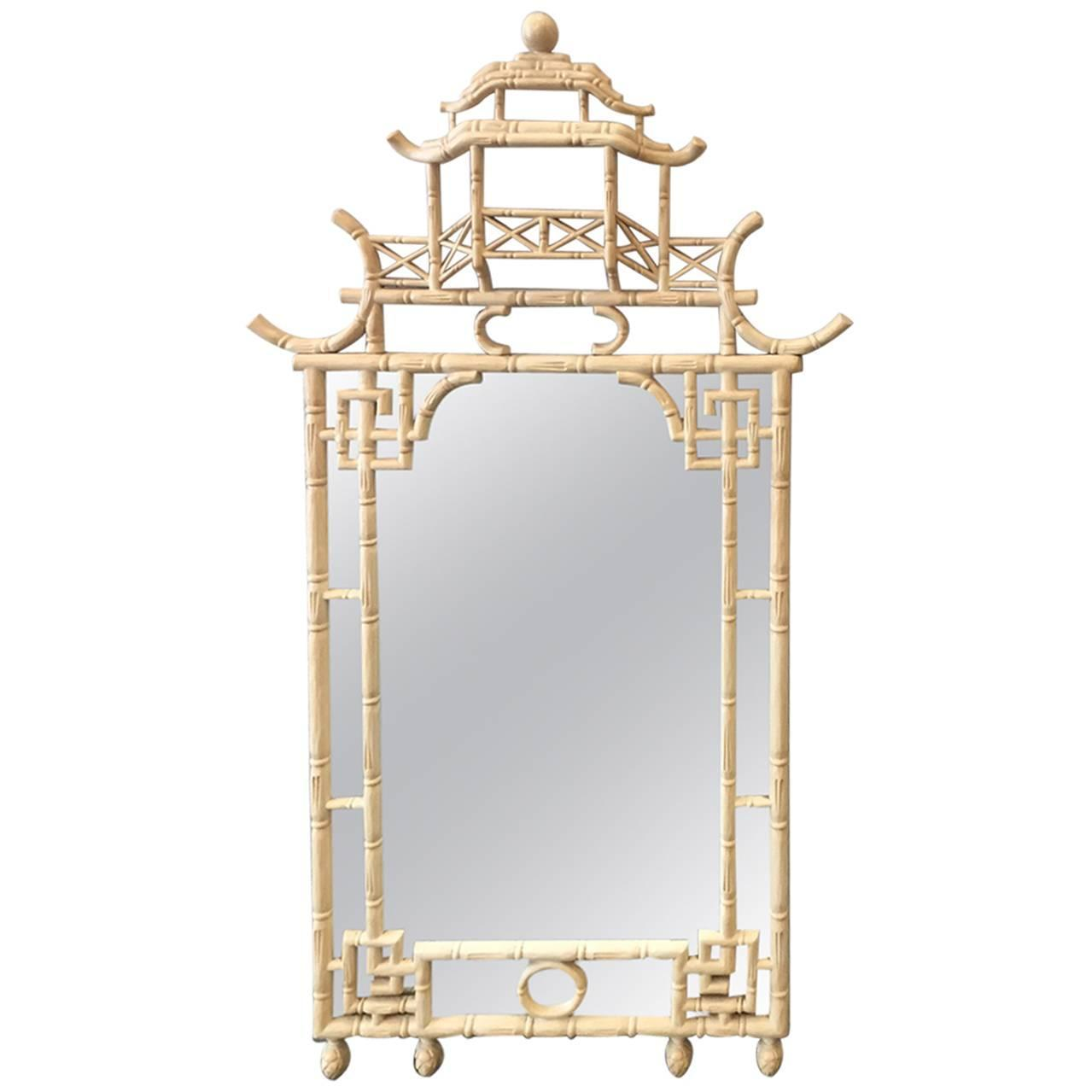 Faux bamboo chinese chippendale style mirror for sale at for Asian style mirror