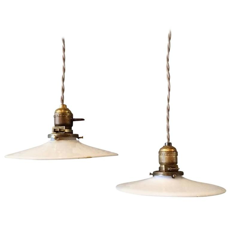 milk glass disc ornate brass stem pendant lights for sale at 1stdibs