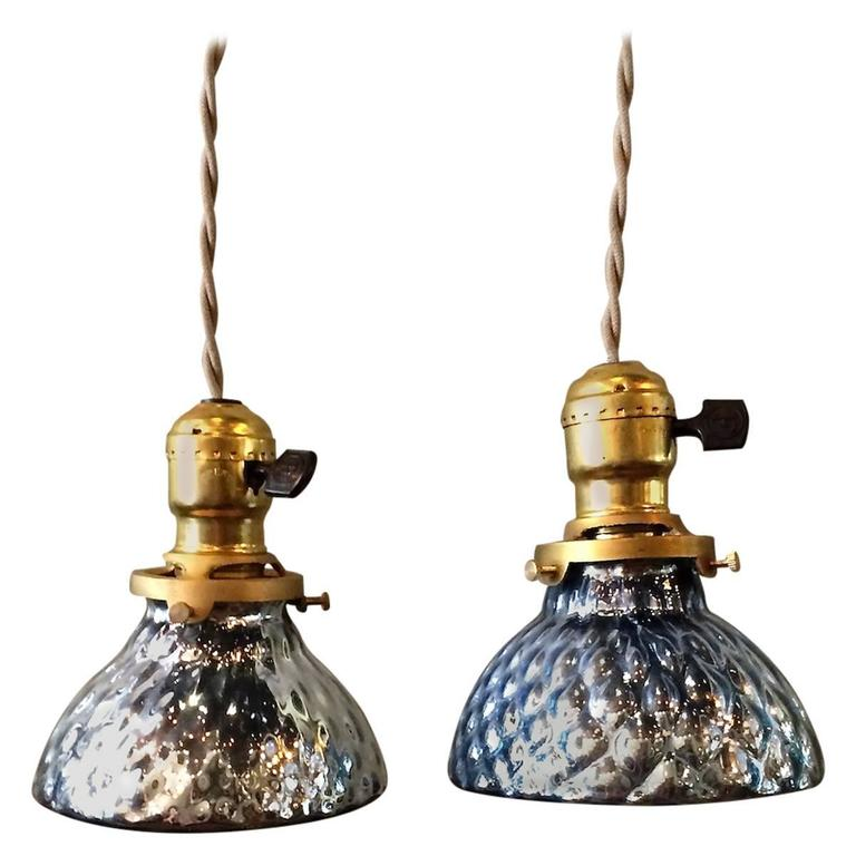 Pair Of Pee Blue Mercury Glass Pendant Lights With Brass Ers For