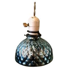 Petite Blue Quilted Mercury Glass Pendant Light with Porcelain Fitter